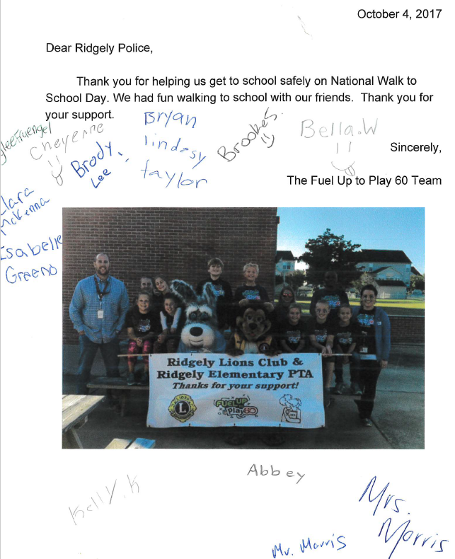 Thank you note to Ridgely Police Dept
